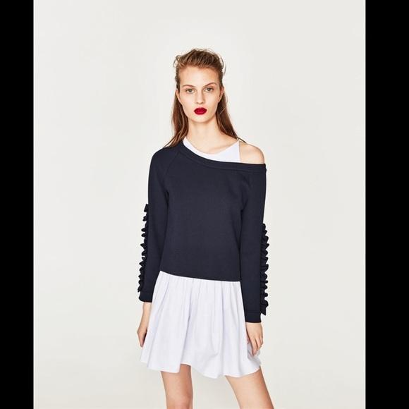 b6ae1b814271 Zara Dresses | Nwt Contrast Dress With Frilled Sleeves | Poshmark
